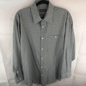 Orvis Blue Grey Plaid Checks Button Down Shirt L